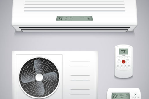 Air conditioner realistic set with cooling and ventilation equipment isolated vector illustration